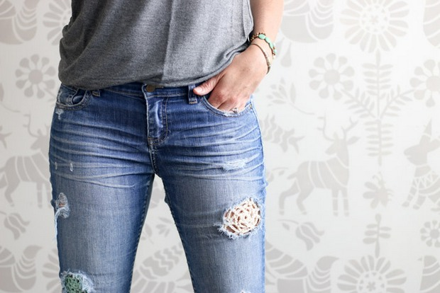 patch jeans with crochet lace