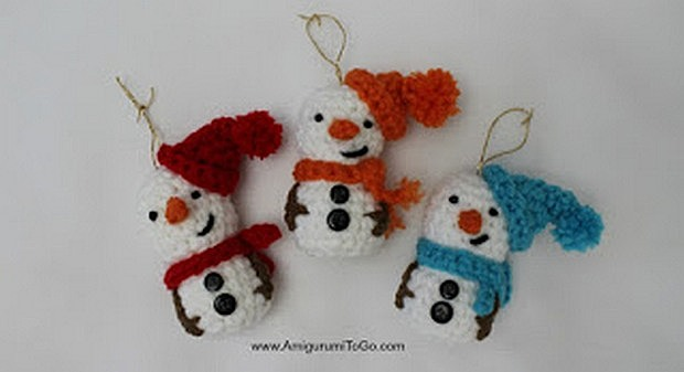 Amigurumi Crochet Snowman Christmas Tree Ornament