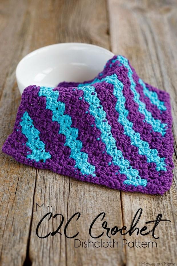 Fabulous Mini C2c Crochet Dishcloth With Stripes Free Pattern
