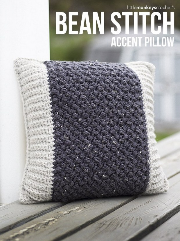 Crochet Bean Stitch Pillow