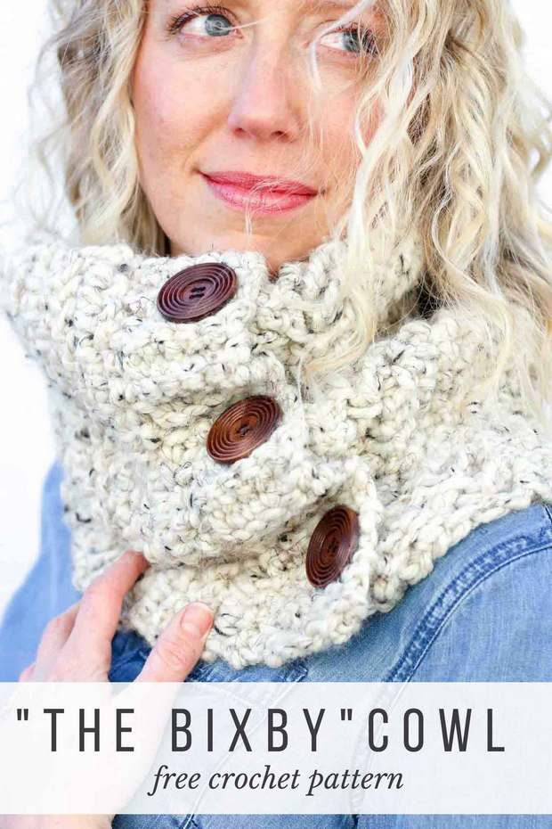 Crochet Cowl Herringbone Double Crochet