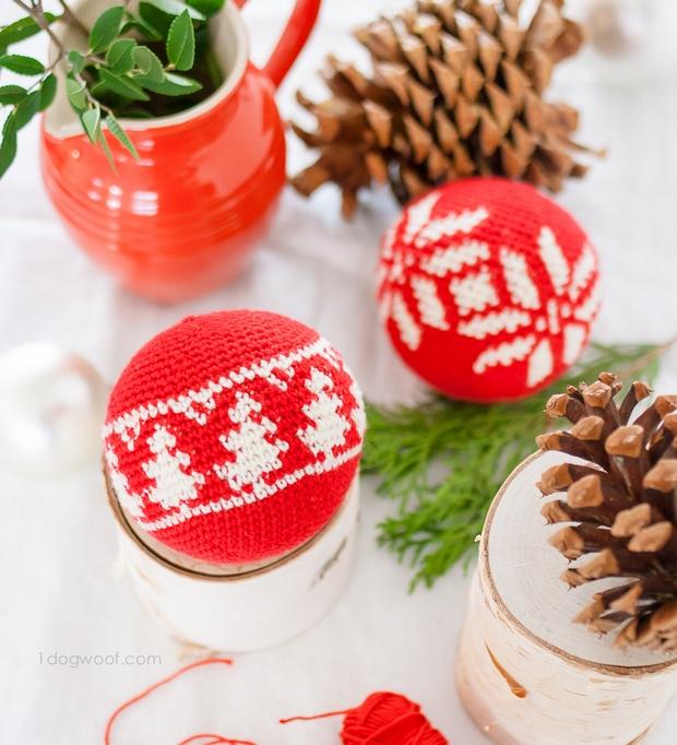 Beautiful Crochet Fair Isle Christmas Tree Ornaments – Free Patterns!