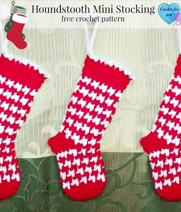 Festive Crochet Houndstooth Mini Christmas Stockings Free Pattern