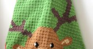 Rudolph Red Nose Reindeer C2C crochet blanket pattern