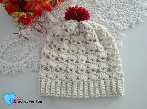 Crochet Slouch Hat with Pom Pom