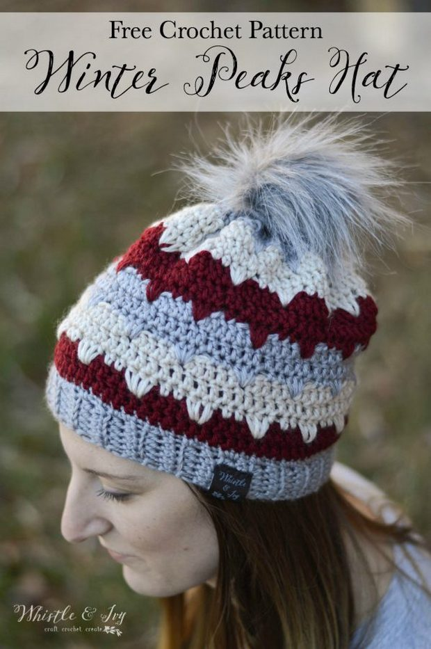 crochet hat with pom pom free pattern