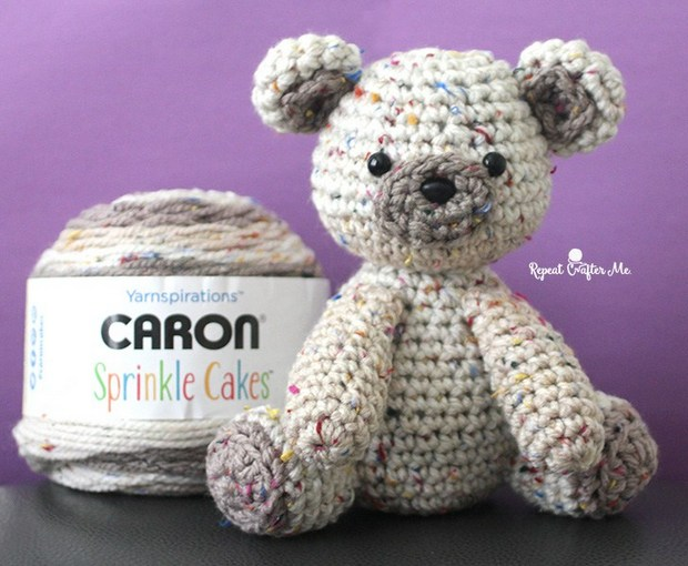FREE Pattern Adorable Little Crochet Bear Made With Caron Sprinkle Cakes Yarn