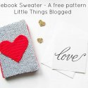 Crochet Heart Notebook Sweater Free Pattern