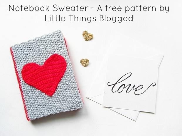 Crochet Heart Notebook Sweater Free Pattern