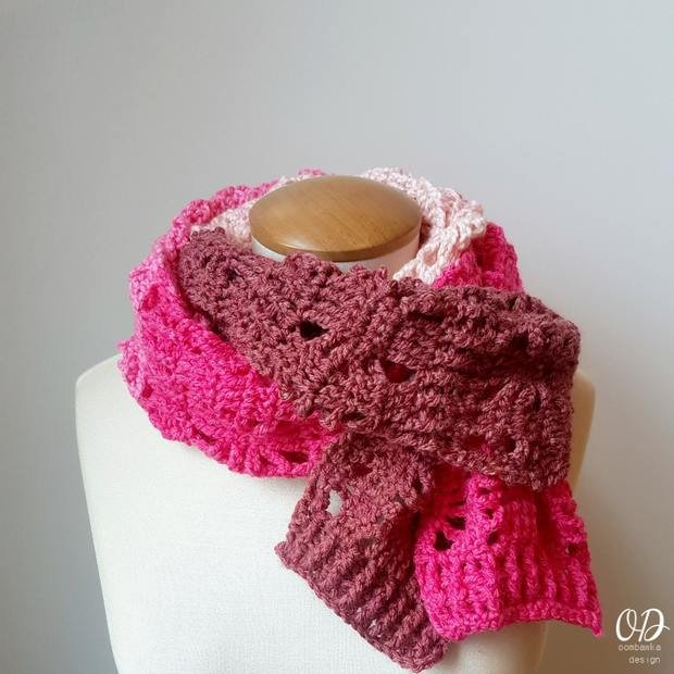 FREE Pattern] Easy & Beautiful Crochet Scarf Made with Caron Cakes