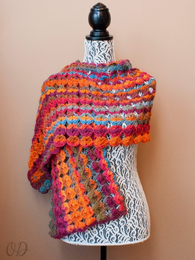 Free Pattern Beautiful Multicolor Crochet Wrap Made With Red Heart