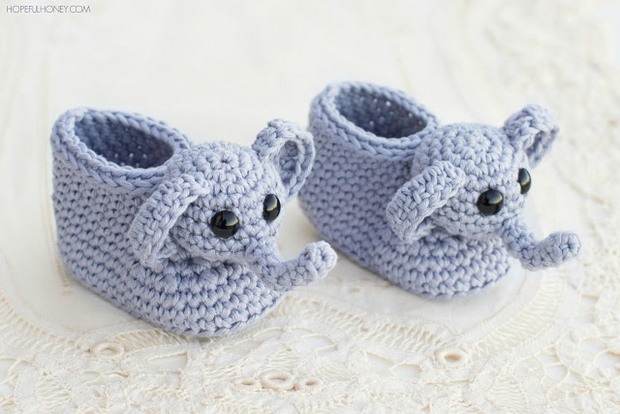 Elephant Baby Booties Free Crochet Pattern
