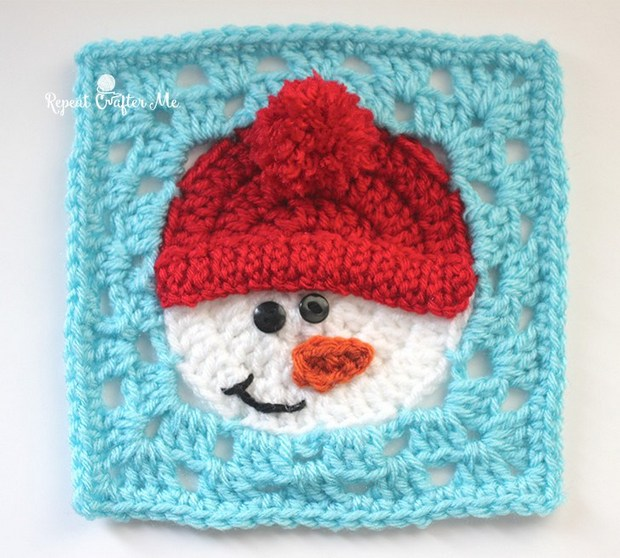Free Crochet Pattern This Snowman Granny Square Is Beyond Adorable
