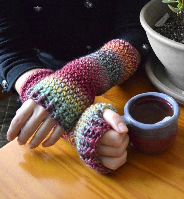 crochet arm warmers photo tutorial