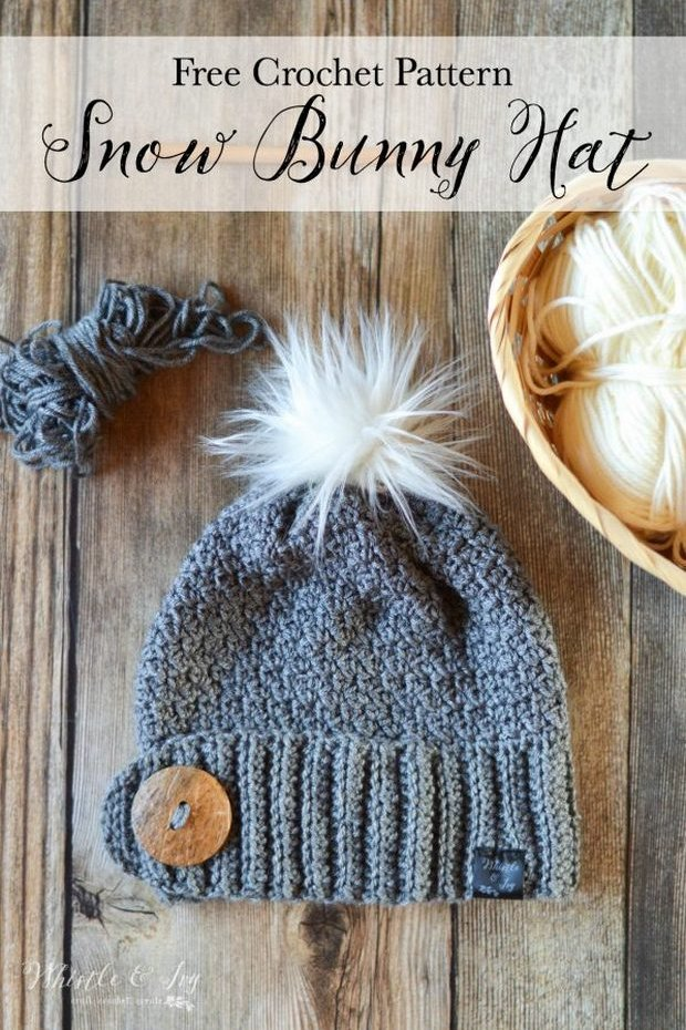 crochet hat pom pom free pattern