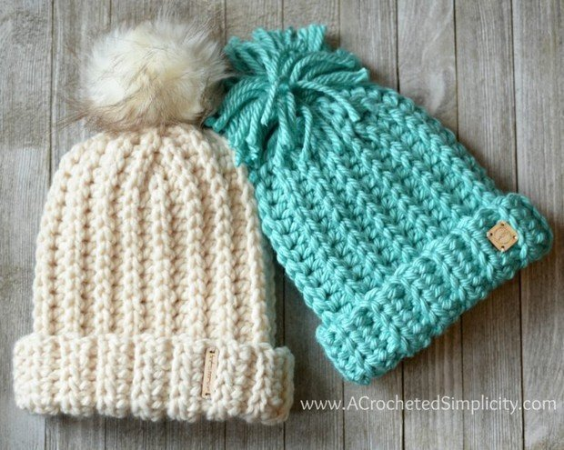 crochet knit-like bulky slouch hat free pattern