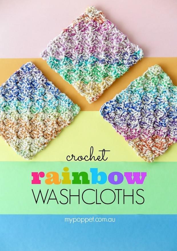 crochet rainbow washcloth free pattern
