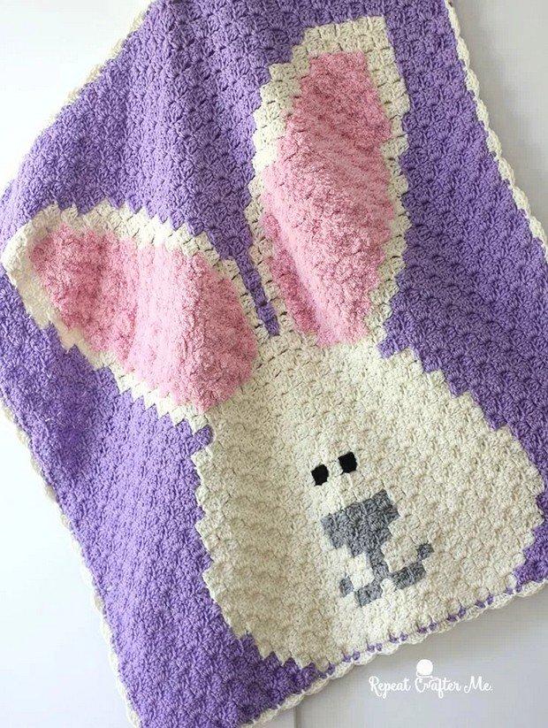 Crochet C2C Easter Bunny Blanket Free Pattern