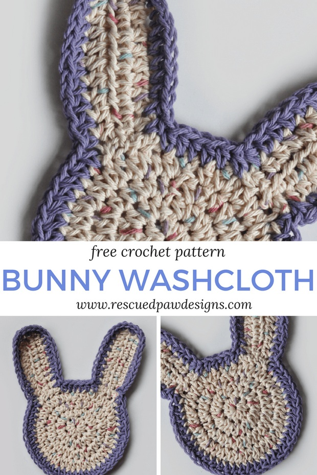 Free Pattern Super Easy Crochet Easter Bunny Washcloth