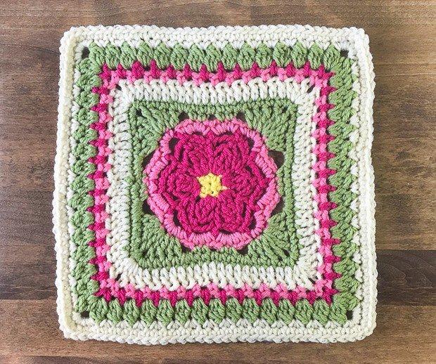 Crochet dahlia afghan square free pattern