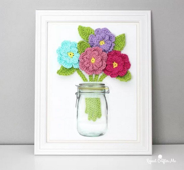 crochet flowers card free pattern