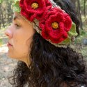 crochet headband poppies free pattern
