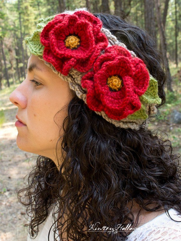 Free Pattern Gorgeous Crochet Headband With Poppies