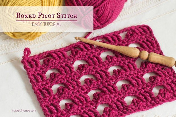 Crochet Boxed Picot Stitch free tutorial