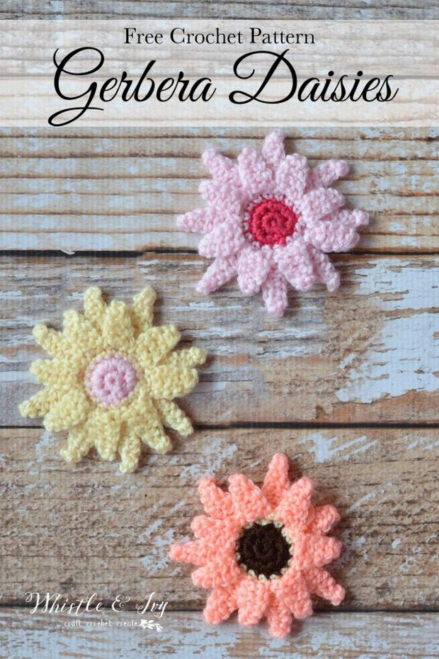 Free Pattern These Crochet Gerbera Daisies Are Super Easy And