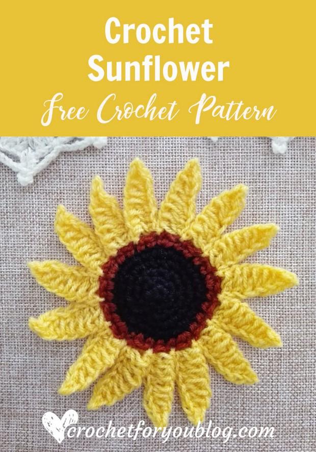 Free Pattern This Beautiful Crochet Sunflower Is Super