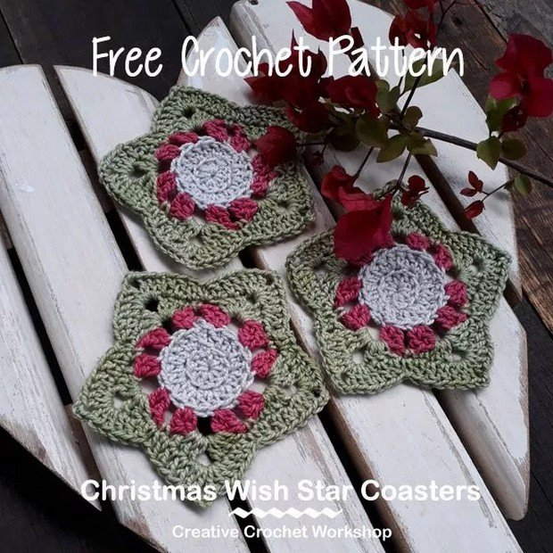 Crochet Christmas Coasters free pattern