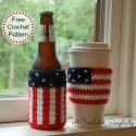 Crochet Patriotic Can and Bottle Cozy Free Pattern