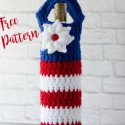 Crochet Red White Blue Wine Bottle Cozy