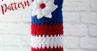 Crochet Red White Blue Wine Bottle Cozy