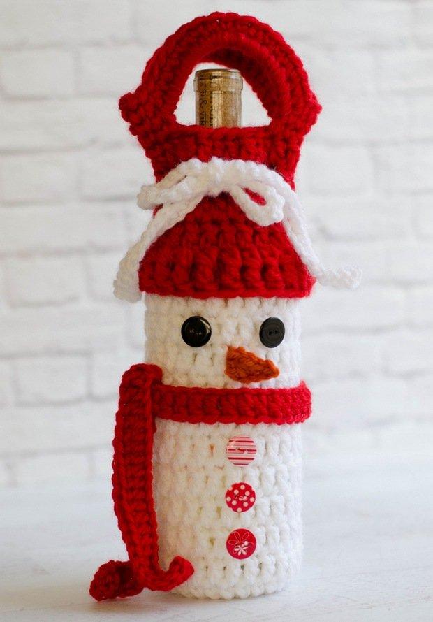 crochet snowman wine cozy